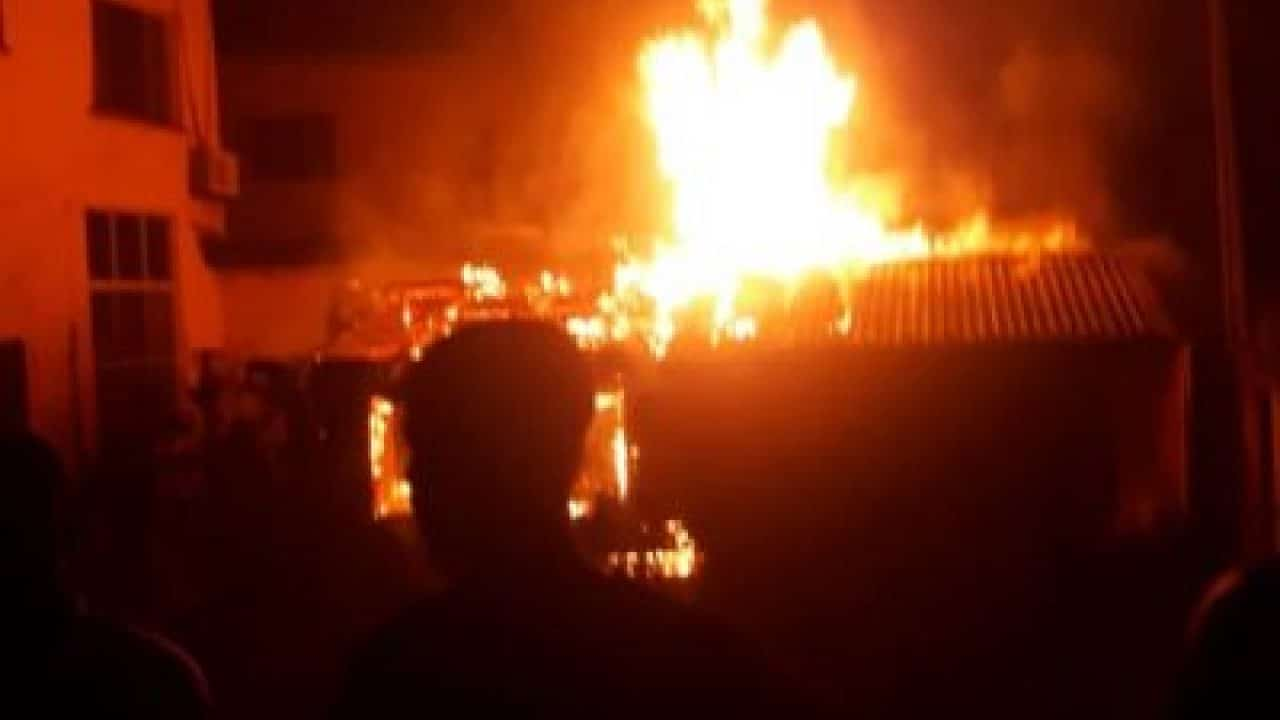 Panic As Arsonists Set INEC Office Ablaze In Enugu State