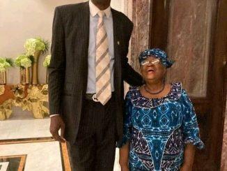 World Trade Organisation DG Okonjo-Iweala Meets With Basketball Legend Dikembe Mutombo